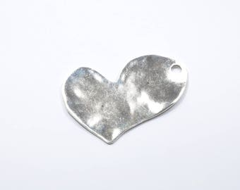 BR163 - 1 large heart charm in silver