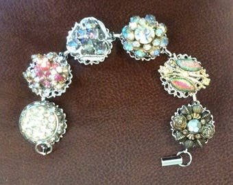 Vintage Bracelet of Earrings and Buttons