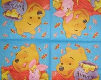 TOWEL in paper Winnie the Pooh, honey and bees #E025