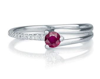 Natural Ruby Engagement Ring With Diamonds