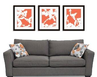 Cherry Blossoms Wall Art Print Set - 11x14 - Coral - Nature Flower Branches - Spring Decor- Modern Flowers Art