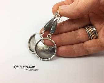 Labradorite Earrings, Argentium Sterling Silver Earrings, Long Gemstone Earrings, Statement Earrings, Oxidized Silver Earrings, Matte Finish