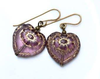 Glass heart earrings, Czech glass heart earrings, heart earrings, gift for her