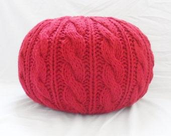 Cable and Rib Knit Pouf Ottoman, Pouf Shell, Knit Pouf Shell, Nursery Pouf, Made to Order