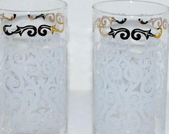 vintage Libbey glass tumblers etched glasses water glasses   hi ball  vintage barware