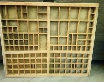 Old wood printer's drawer printer tray case Display letterpress drawer Rustic industrial Antique Printer Tray