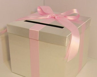 Wedding Card Box Ivory and Baby Pink Gift Card Box Money Box  Holder--Customize your color