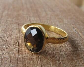 Smoky Quartz Ring- Quartz Ring- Silver Quartz Ring- Bezel Ring- Silver Stone Ring- Gemstone Ring- Brown Stone Ring- Smoky Topaz Ring- Ring