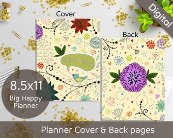 8.5x11 Planner Cover Printable, Front and Back pages, 8.5x11 US Letter size, Syasia Cute Floral DIY Planner PDF Instant Download
