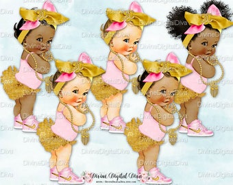 Ruffle Pants Big Head Bow Sneakers | Pink Gold | Vintage Baby Girl Afro Puffs | Clipart Instant Download