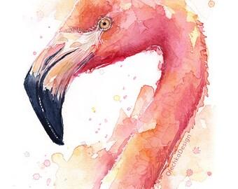 Flamingo Watercolor Painting, Flamingo Art Print, Pink Bird, Tropical Print, Flamingo Print, Whimsical Animal Print, Nursery Animal Print