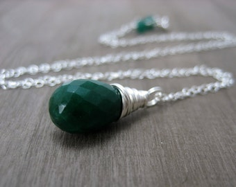 Genuine Emerald Necklace, Sterling Silver Green Emerald Pendant Necklace May Birthstone Jewelry Wire Wrapped