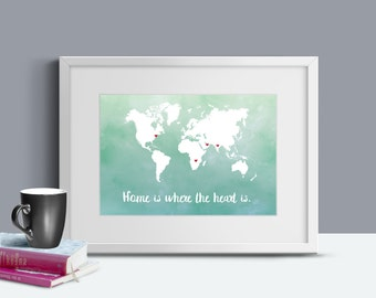 Personalized Map Art -  World Map - Gift for Couples - Gift for him - World Travel Map - Travel Map Art - Gift for Traveler