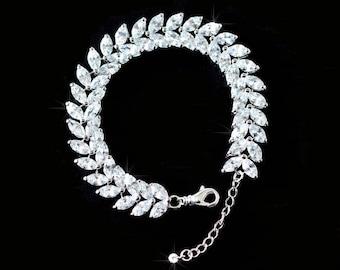 Luxe Sparking AAA+ Cubic Zirconia CZ Leaf Vintage Inspired Bridal Bracelet, Bridal, Wedding (Sparkle-2575)