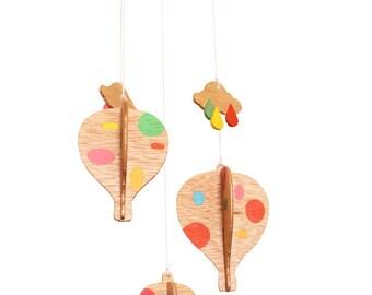 Handmade wooden mobile, air balloon, crib mobile, kids room decoration