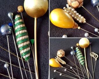 SALE****Job Lot of 16 x 1930s/40s Hat Pins!