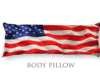 American Flag Bed Pillow-USA Bed Decor-Sleeping Pillow Cover-Bed Pillow Cover-Microfiber Pillow Cover-Bed Bolster-Fleece Body Pillow Cover