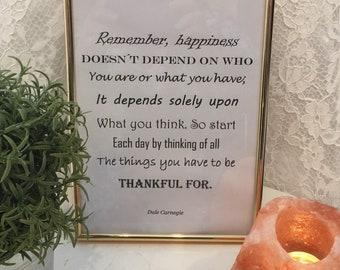Inspirational quote, wisdom quote, Dale Carnegie, printable pdf-file