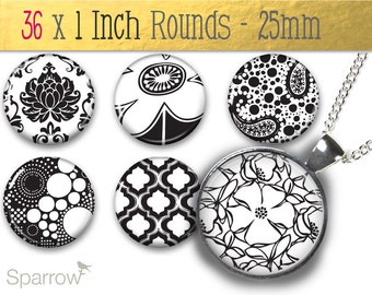 Black and White Patterns - (1x1) One Inch (25 mm) Round Pendant Images - Collage Sheet - Digital Sheet - Buy 2 Get 1 Free - Digital Download