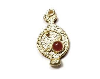 Pomegranate Charm, 24K Gold Plated Mini Pomegranate Charm Pendant with Brown Glass