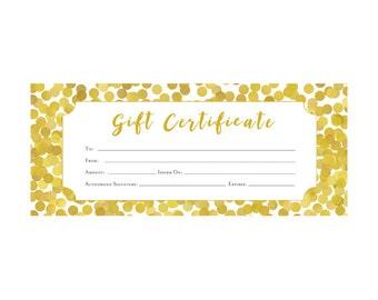 Gold Glitter, Confetti,  Gift Certificate, Premade, customer appreciation, Gift Certificate Template, Gift, Last Minute Gift Idea, Blank