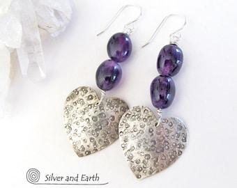Amethyst Sterling Silver Earrings, Silver Heart Earrings, Purple Gemstone Earrings, Romantic Gift for Her, Handmade Silver Jewelry