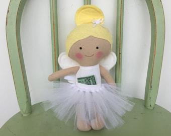 Handmade Tooth Fairy Doll,  Ballerina Doll in White