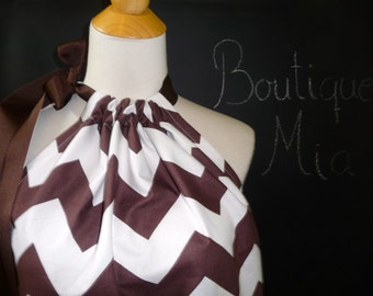 Pillowcase DRESS or TOP - Riley Blake - Chevron - Chocolate and White - Made in ANY Size - Boutique Mia