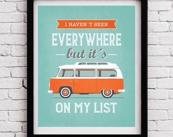Orange VW Travel poster, VW Retro styleTypographic poster, Quote art, Inspirational print, typography print, Typographic poster, VW print