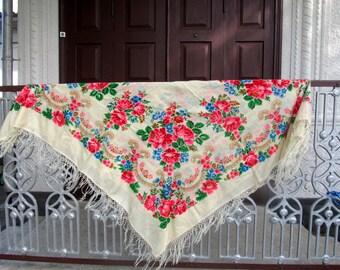 Ukrainian folk shawl, Russian floral scarf, big woolen kerchief,  woolen floral scarf, folk kerchief, Ukrainian / Russian national scarf.