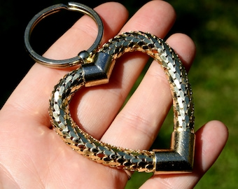 Whiting & Davis, Heart, Shaped, Whiting, Davis, Signed, Love, Serpent, Gift, Girl, Scale, Rope, Keychain, Jewelry, Chain, Key, Metal, Gold