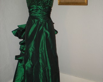 1990 Flirtations by Alfred Angelo Emerald Green Sequins Strapless Formal Gown Big Rear Bow size 7/8