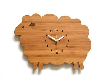 Wood Wall Clock, Sheep, Kids wall clock, Nursery Decor