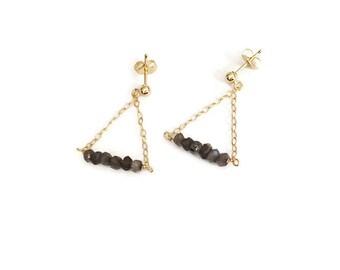 Dangly triangle earrings, chain earrings, dangly earrings, gold filled earrings, stones earrings, grey earrings, trendy earrings, grey stone