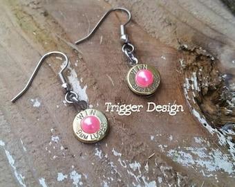 9mm Caliber Dangle Bullet  Casing Earrings- Pink Pearl