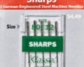 Klasse Needles Sharps 80/12 Package of 5 Cards 25 Bundle Package