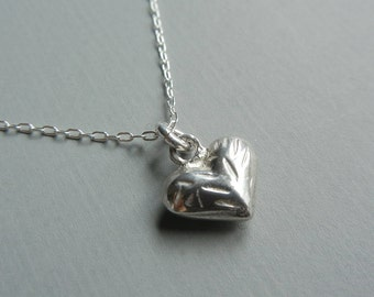 Little Etched Heart Necklace