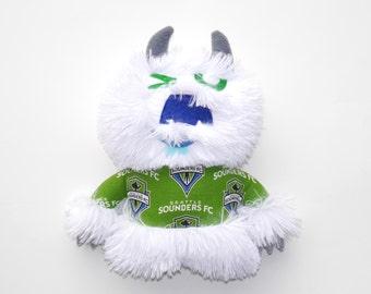Whoosh the Monster Seattle Sounders Fan plush, stuffie, cuddly, soccer, white, plushie, lovie, stuffed animal, monster, ooak art doll