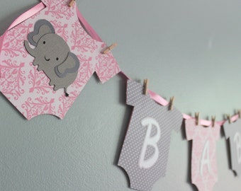 Elephant Baby Shower Banner, it's a girl, pink and gray, Girl banner, elephant baby shower decoration