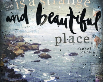 Strange and Beautiful - paper print - inspirational ocean word art
