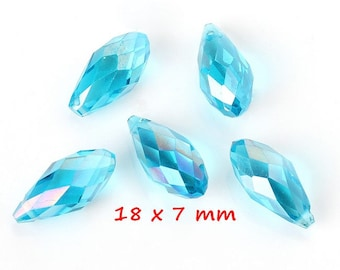 10 blue faceted glass drop beads