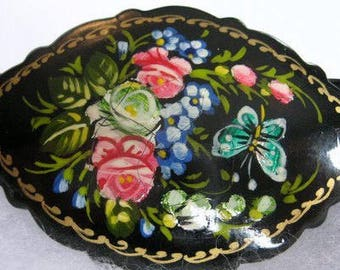 Vintage pin brooch Russian black  Lacquer Floral signed folk art 1990