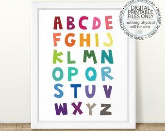 Rainbow Alphabet Print, Nursery Wall Art, ABC Print, Nursery Art, Wall Decor, Nursery Decor, Kids Room Art, Printable Nursery, ABC Wall Art