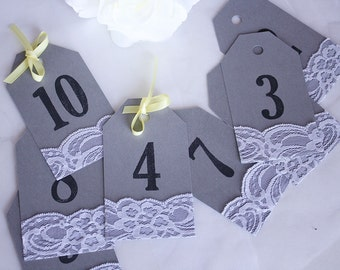 Grey & Yellow Lace Table Number Tags, Grey Yellow Table Numbers, Grey and Yellow Wedding, Table Numbers, Wedding Table Numbers, Number Tags