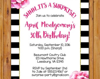 Surprise Black White Stripes Birthday Party Invite Pink Flowers Printable Invitation 30th 50th 60th any age 5x7 Digital JPG File (554)