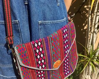 Stunning Vintage 70's Mexican Saltillo blanket style lined woven cross body / messenger purse