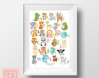 Custom Alphabet Print, Nursery Artwork, Nursery Alphabet, Kids Room Decor, Kids Art, Childrens Art, Personalised Print, Nursery Art