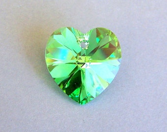 18mm Peridot AB Swarovski crystal heart pendant, large peridot green crystal heart, 18mm, qty 1