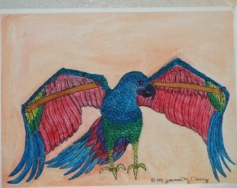 """Broken wings 11 """"x 14"""" watercolor, pen & ink"""