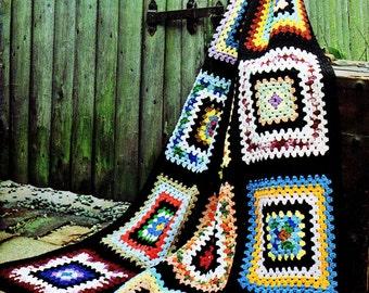 Afghan Crochet Pattern, Crochet Afghan Pattern, Classic Granny Square Crochet, Handmade Gift Idea, INSTANT Download Pattern PDF (1019)